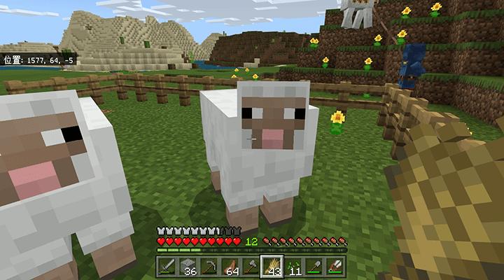 奥へ誘導された羊