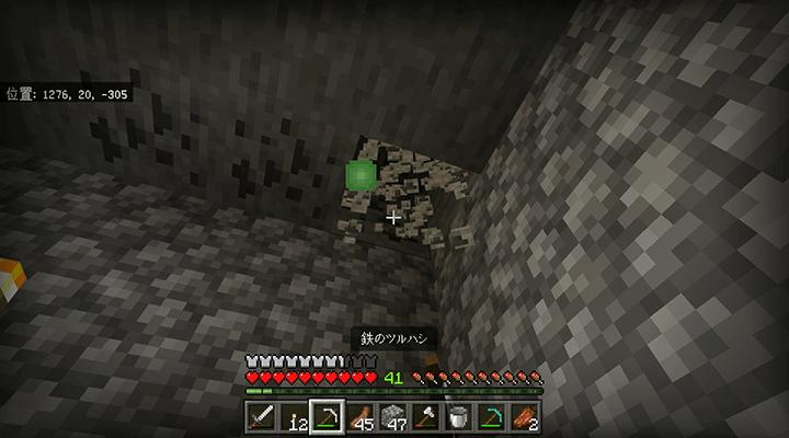 ダンジョンの天井の石炭鉱石