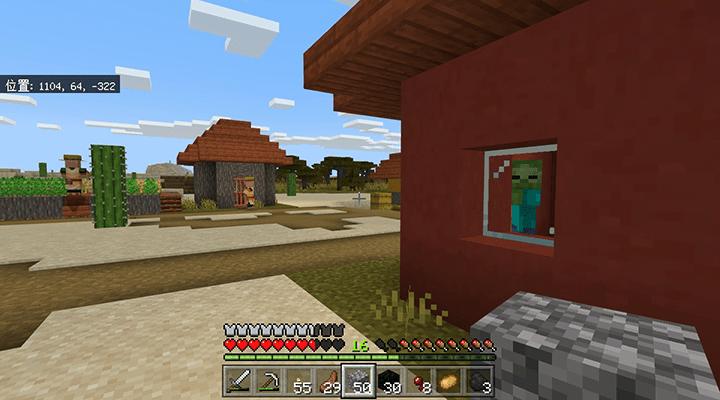 村の家に入ったゾンビ