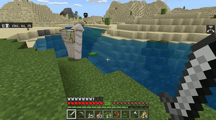 川の中を見るアイアンゴーレム