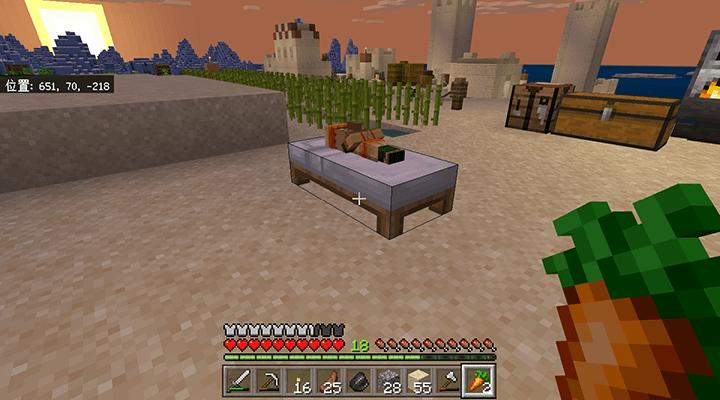 ベッドで寝る村人の子供